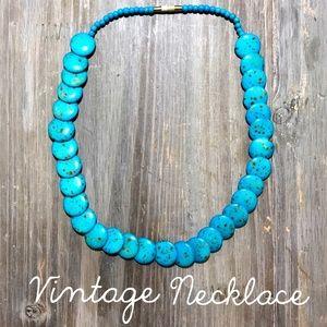Turquoise plastics beaded necklace beads vintage